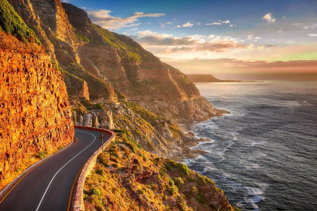 road, coast, cliff